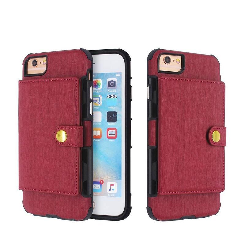 Cartera de cuero para teléfono al por mayor para iPhone 8, 7, 6s, 6 y más