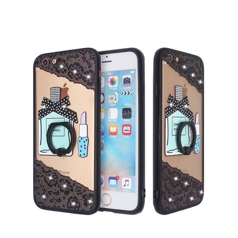 Grabe y mate la caja del teléfono TPU para iPhone 6 con el anillo