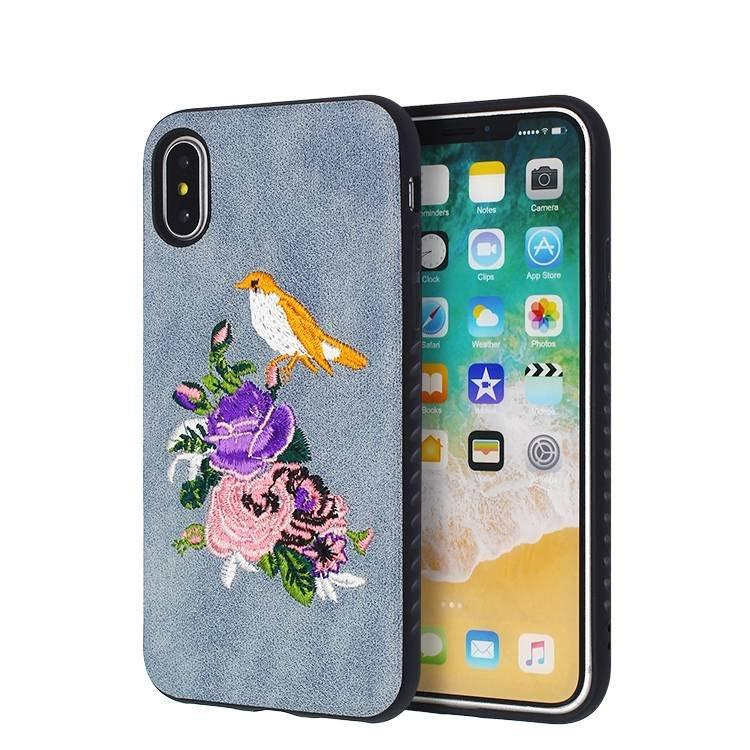 Hermosa bordado IPhone X Leather-Gluing Case al por mayor