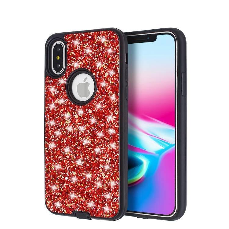 Sparkle Gliter Powder Sticker Case For IPhone X  Wholesale