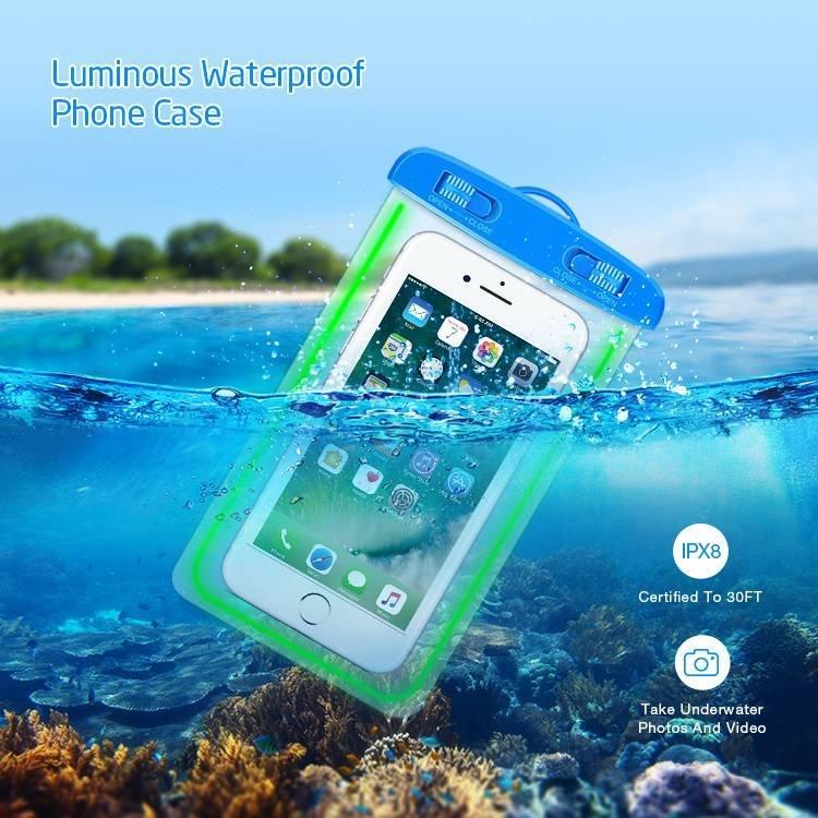 Estuche universal luminoso para teléfono a prueba de agua