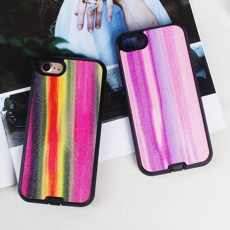 Rainbow Glitter Leather Case for iPhone 6/7/8