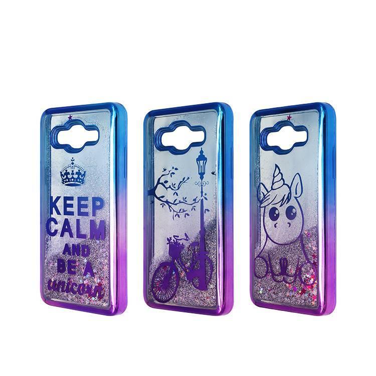 Caja de arena líquida de chapado bicolor para teléfono Samsung