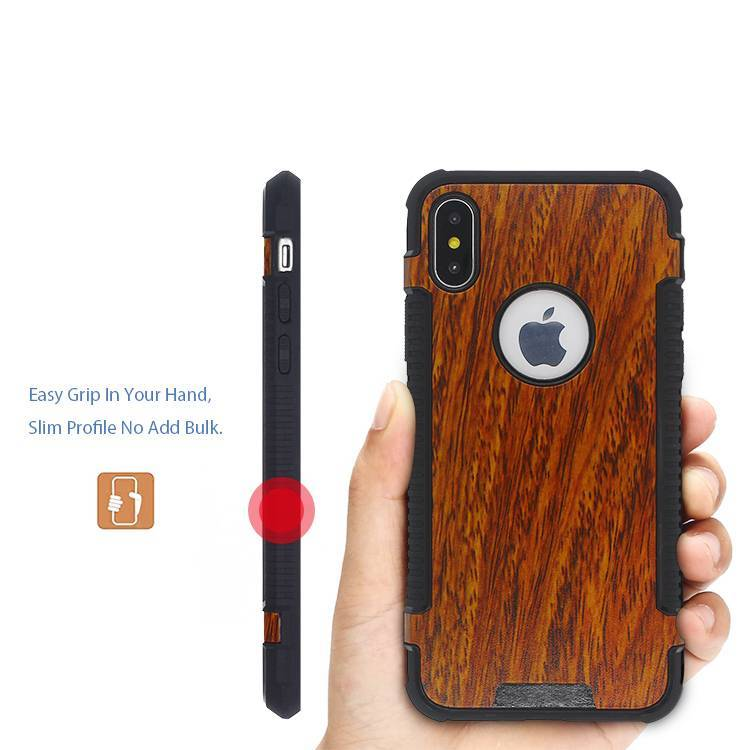 iPhone X Leather Sticker Case with Beautiful Wood Grain Pattern