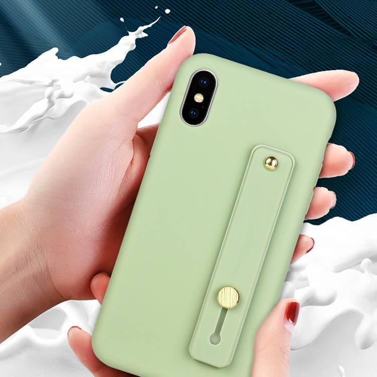 Soft TPU Cover iPhone XS Case with Hand Strap and Kickstand Function