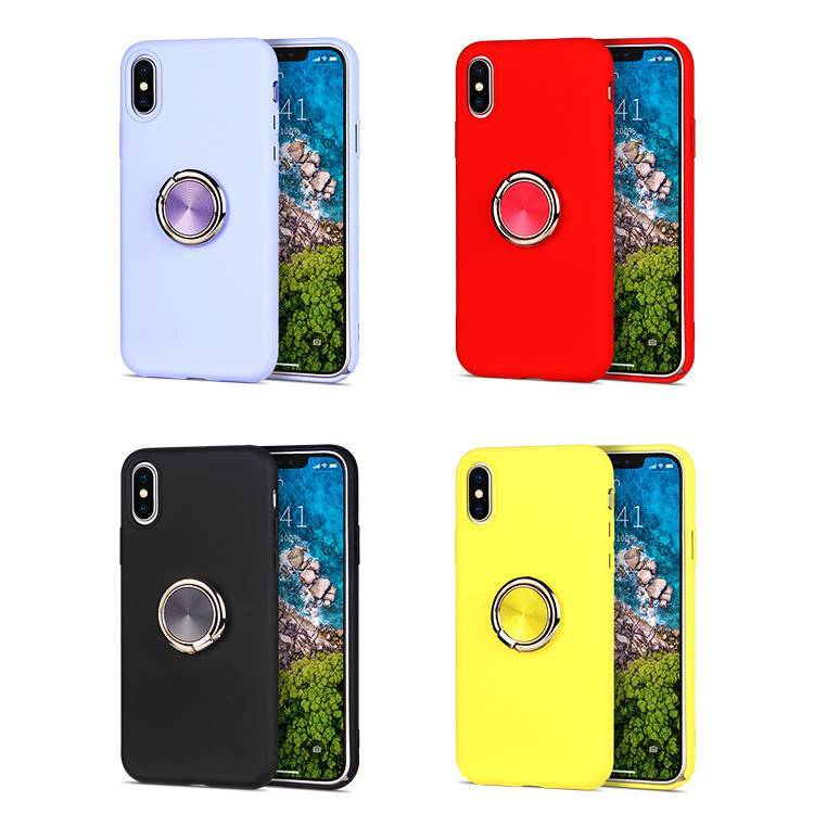 Liquid silicone case for iPhone X XS XR with Ring Holder Stand