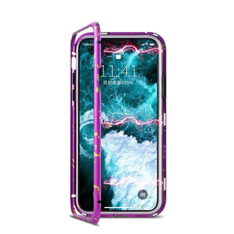 New Design Magnetic Case for iPhone X XS Metal Frame Flip Cover