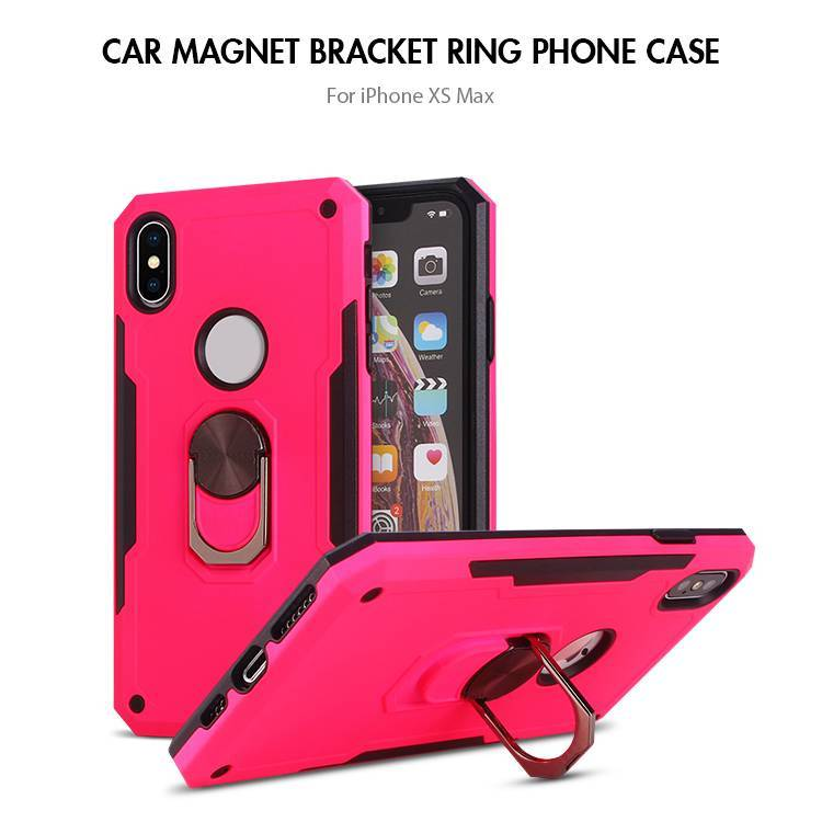 Shockproof Hybrid TPU PC Magnetic Ring Holder iPhone XS Case with kickstand