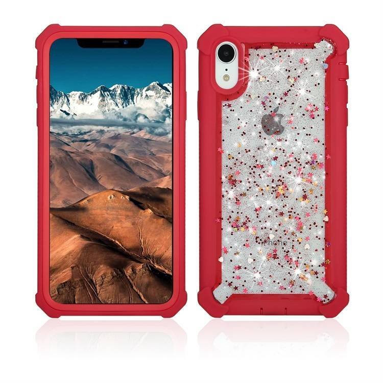 Anti-shock Hybrid Glitter Phone Case for iPhone XR Heavy Duty Case