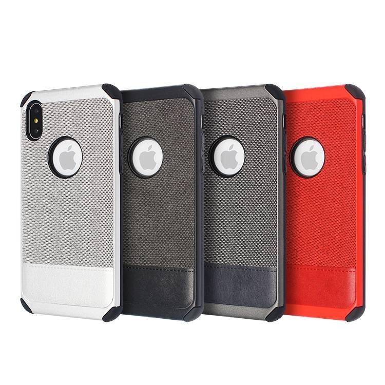 IPhone X 2 in 1 Veneer Gluing Leather Texture Case