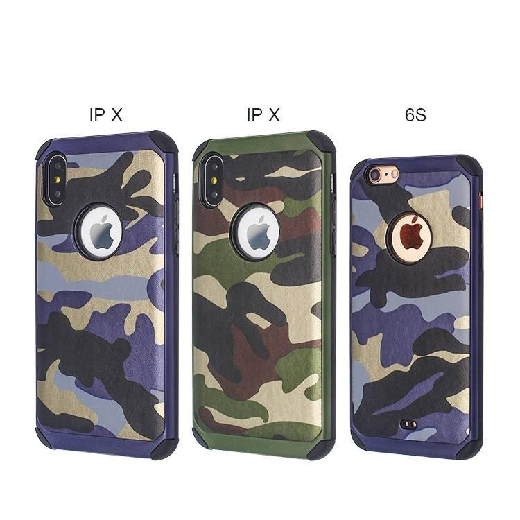 Venere Gluing Funda de camuflaje de cuero para IPhone X a granel