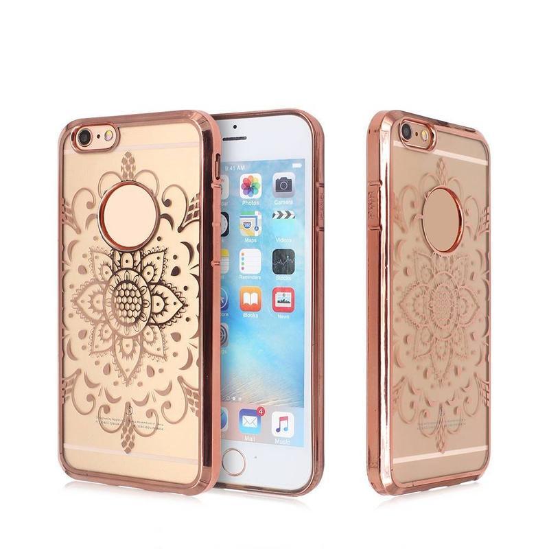 Caja de teléfono galvanizada para el iPhone 6 con las ilustraciones curvadas laser