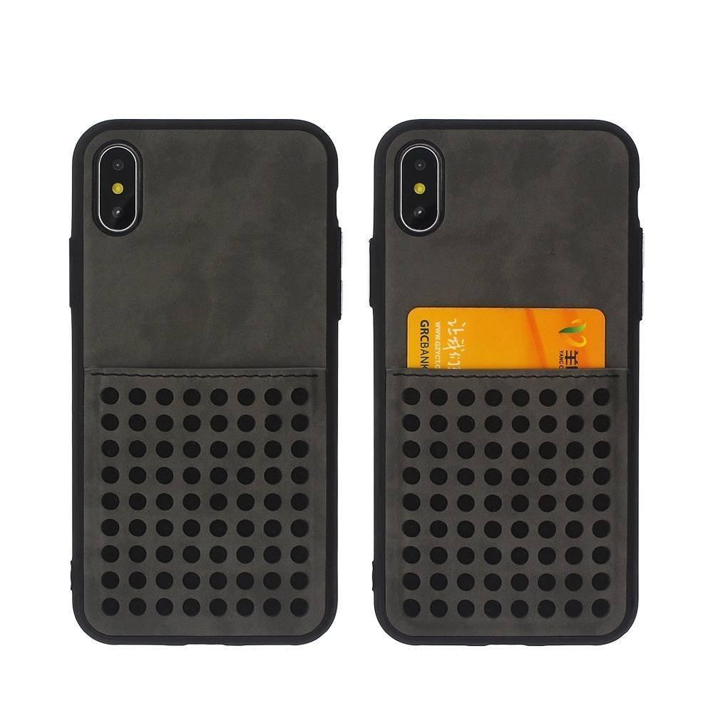 Funda de cuero chapado con tarjetero para iPhone X al por mayor