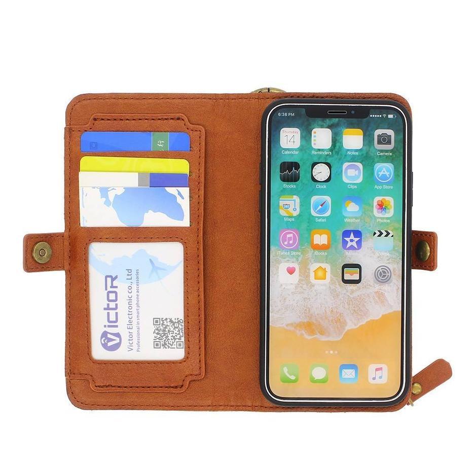 Funda de piel para iPhone X con tarjeteros y bolsillo con cremallera