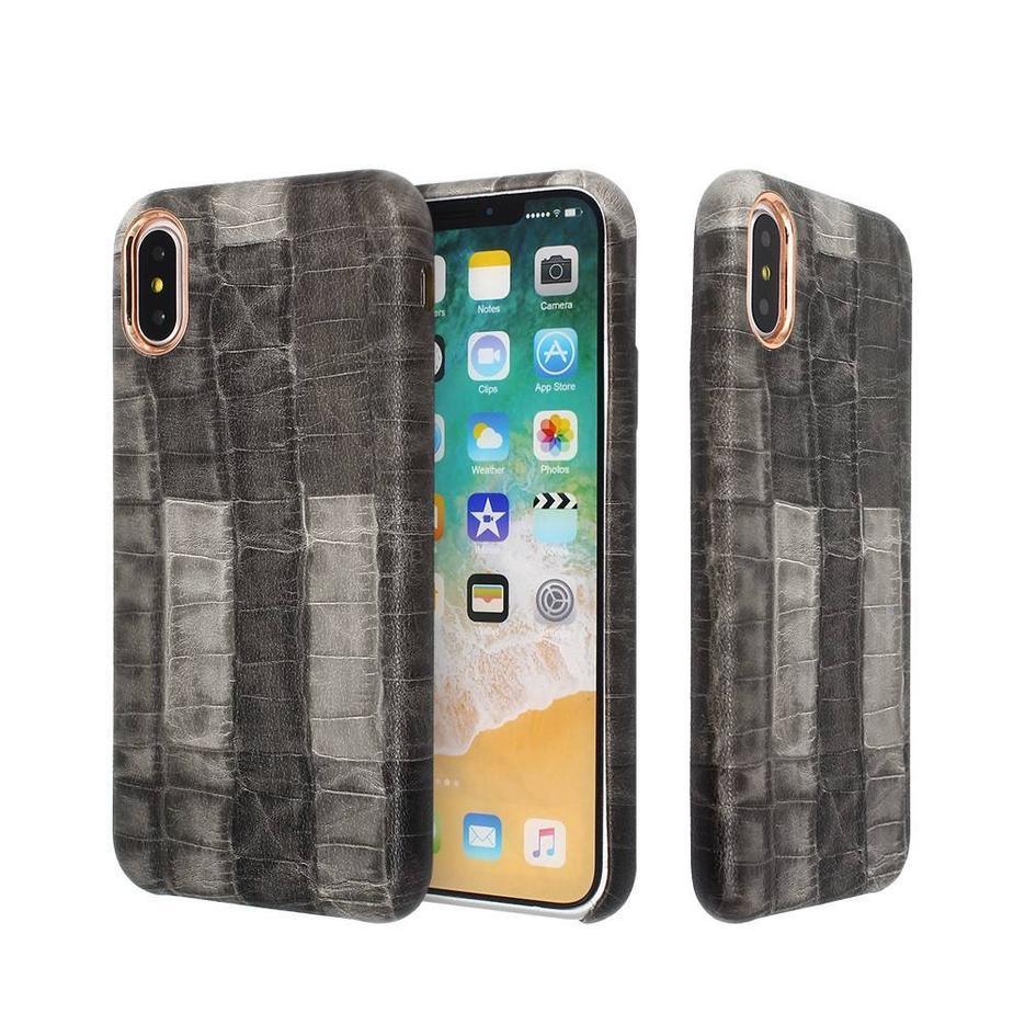 Elegantes fundas de cuero delgadas del iPhone X hechas del material de la PU