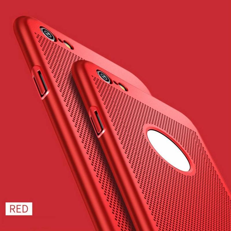 Disipación de calor Slim iPhone 6 caso del teléfono de la PC con agujeros